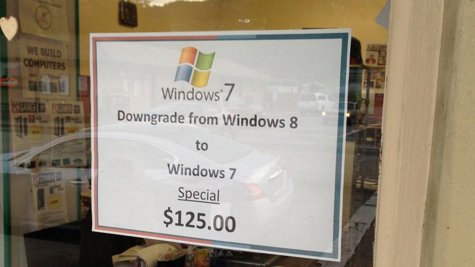 الرجوع من ويندوز ٨ إلى ويندوز ٧ بـ ١٢٥ دولار!